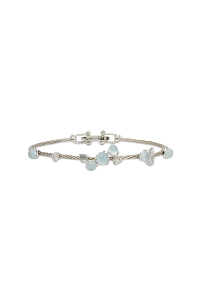 White Gold White Aqua Bauble Bracelet