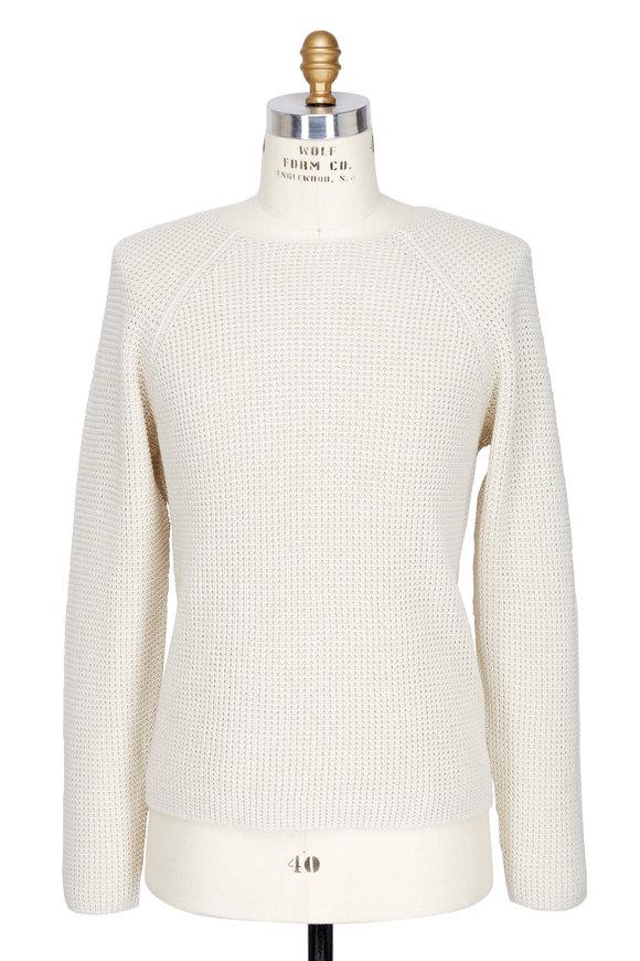 Vince Cream Cotton Thermal Stitch Sweater