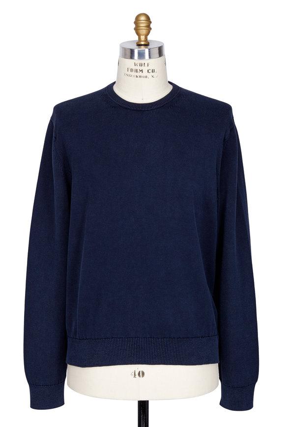 Vince Coastal Blue Cotton Garment Dyed Crewneck Sweater
