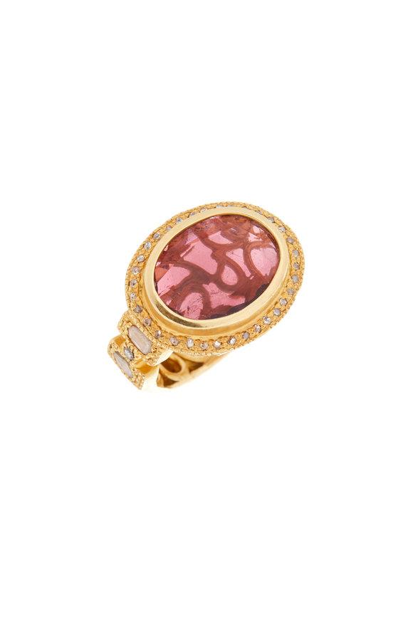 Coomi 20K Yellow Gold Pink Tourmaline & Diamond Ring