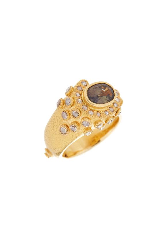 Coomi 20K Yellow Gold Garnet & Diamond Affinity Ring