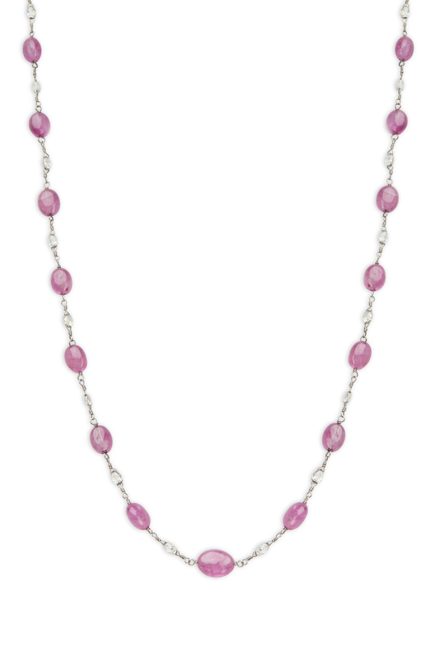 Platinum Pink Sapphire Bead Diamond Necklace