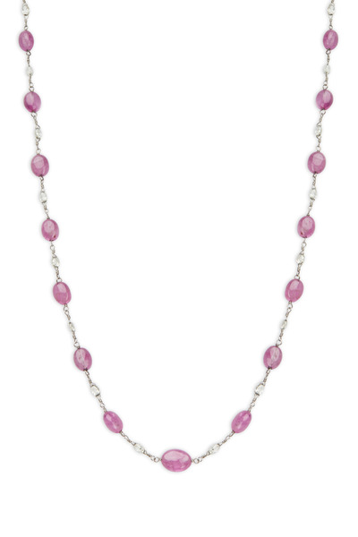 Paul Morelli - Platinum Pink Sapphire Bead Diamond Necklace