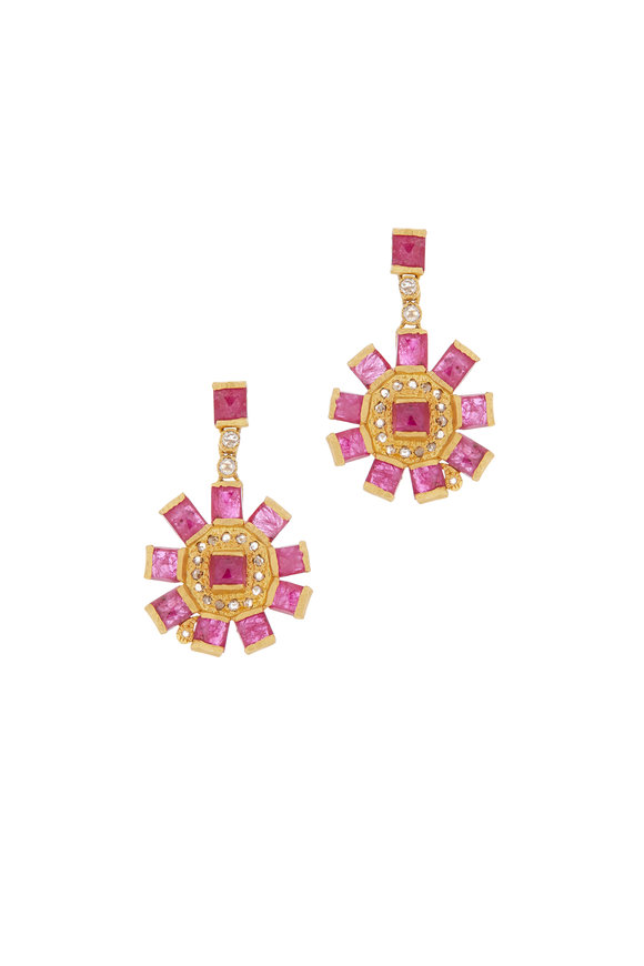 Coomi 20K Yellow Gold Ruby & Diamond Mosaic Earrings