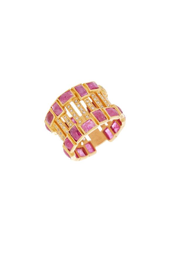 Coomi 20K Yellow Gold Ruby & Diamond Mosaic Line Ring