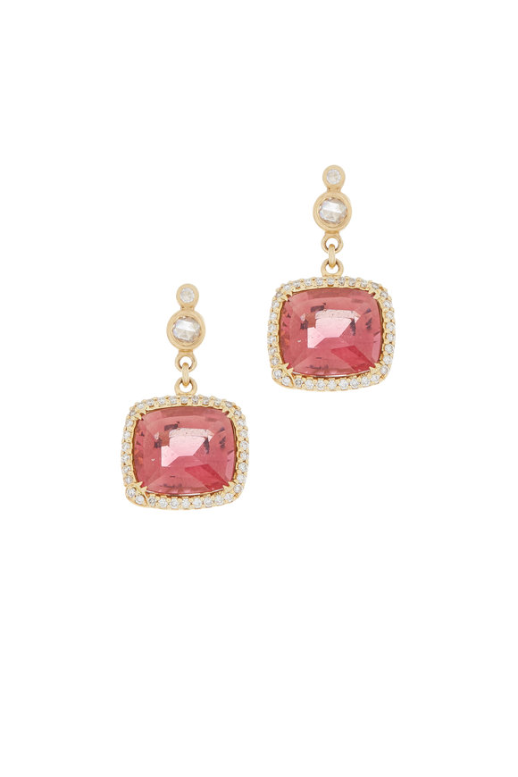 Coomi 20K Yellow Gold Rubelite & Diamond Earrings
