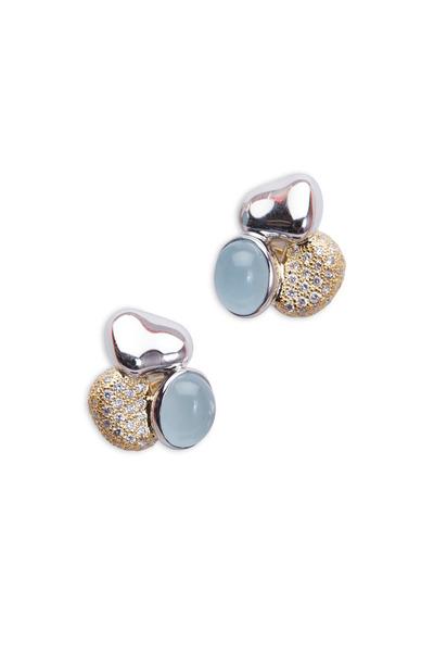 Paul Morelli - Yellow Gold Aquamarine Diamond Clip Earrings