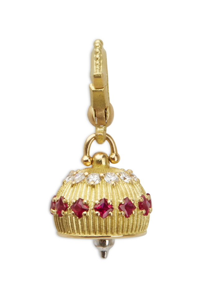 Meditation Bell Yellow Gold Ruby Diamond Pendant