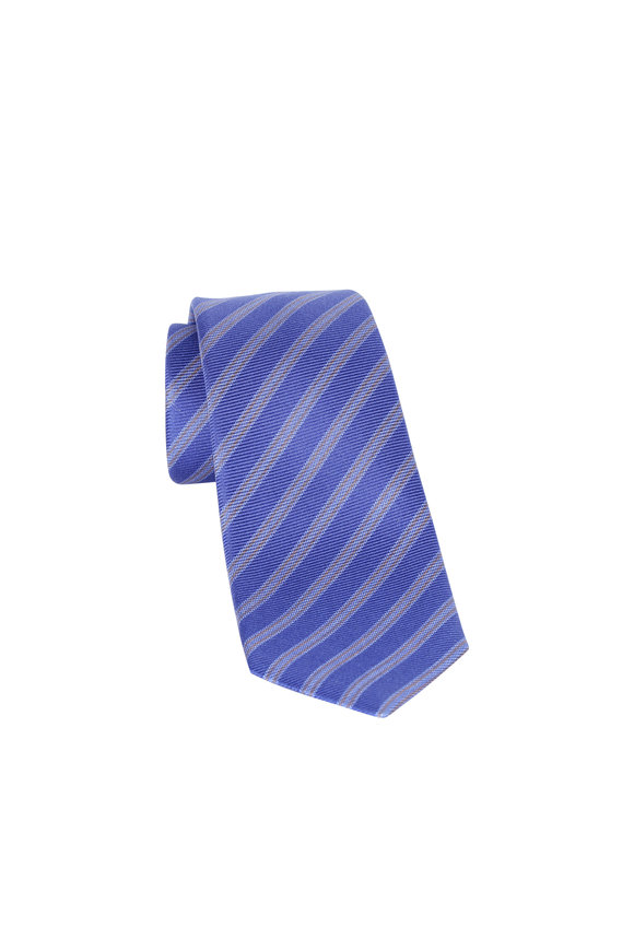 Kiton Purple Striped Silk Necktie