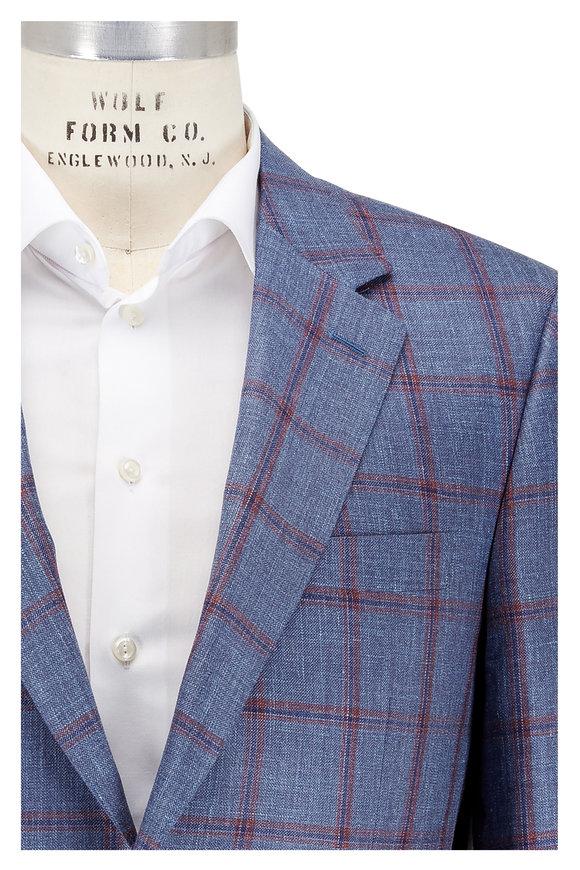 Canali Light Blue Windowpane Wool, Silk & Linen Sportcoat