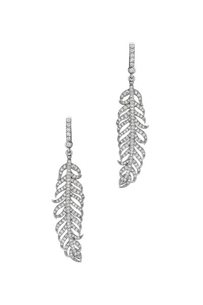 Penny Preville - 18K White Gold Diamond Feather Earrings