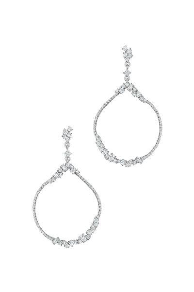 Penny Preville - 18K White Gold Diamond Round Open Cluster Earrings