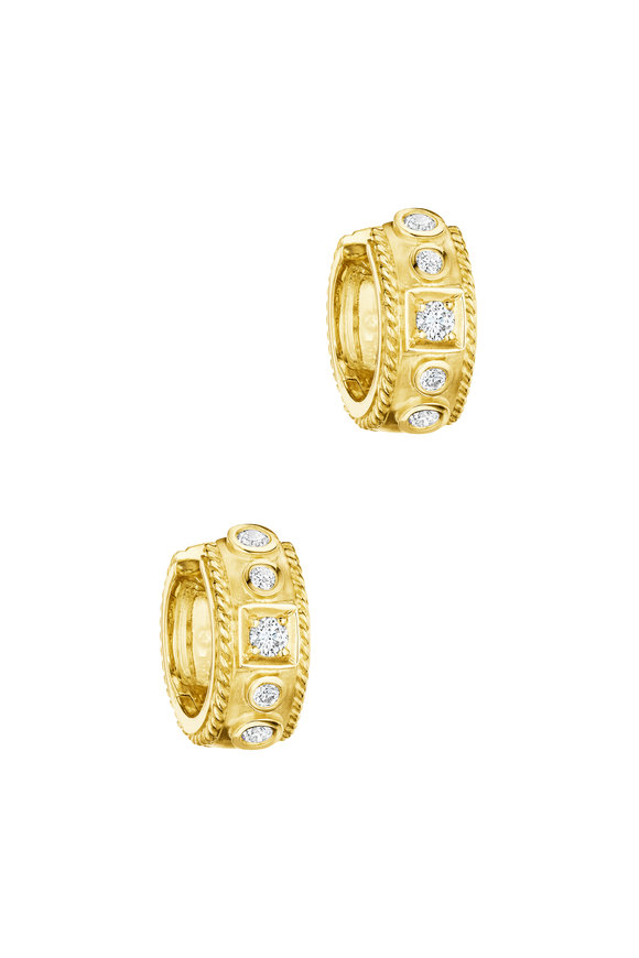 Penny Preville 18K Yellow Gold Diamond Square Huggie Earrings