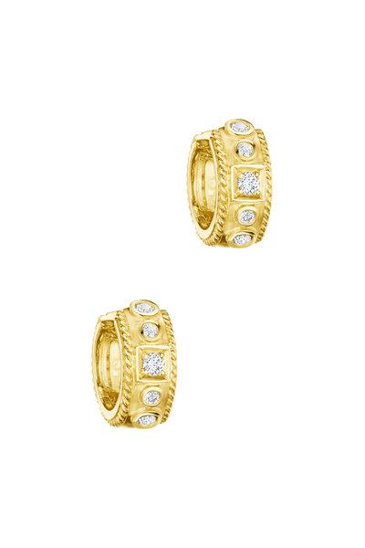Penny Preville - 18K Yellow Gold Diamond Square Huggie Earrings
