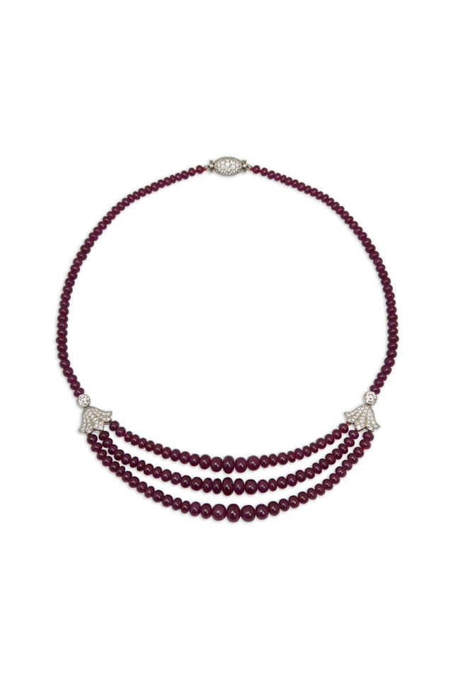 Platinum Ruby Bead Diamond Necklace