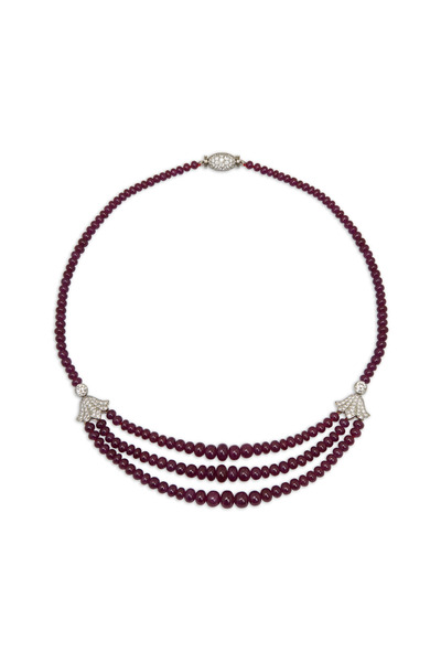 Oscar Heyman - Platinum Ruby Bead Diamond Necklace