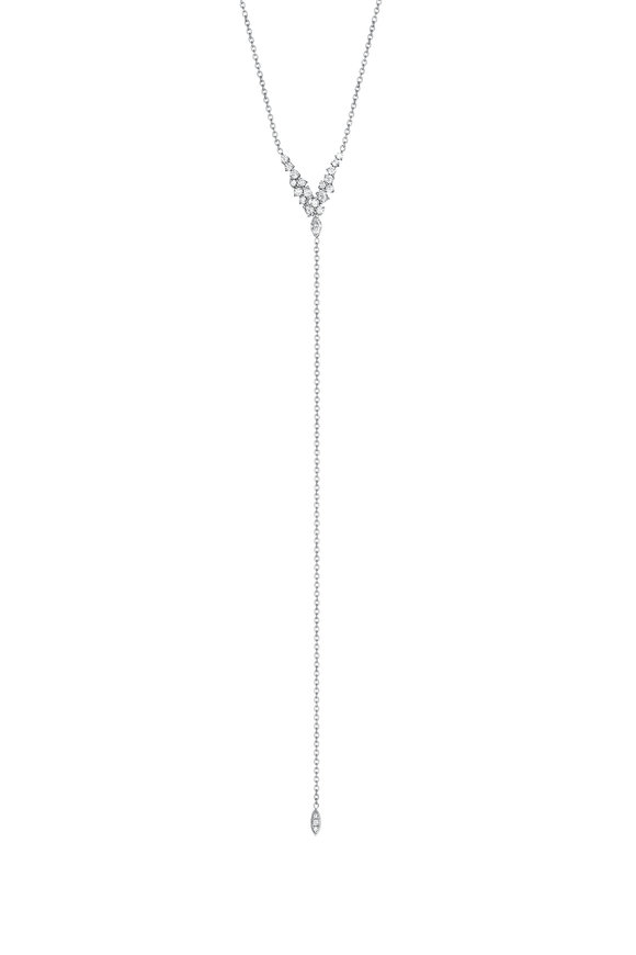 Penny Preville 18K White Gold Diamond Cluster Y Necklace