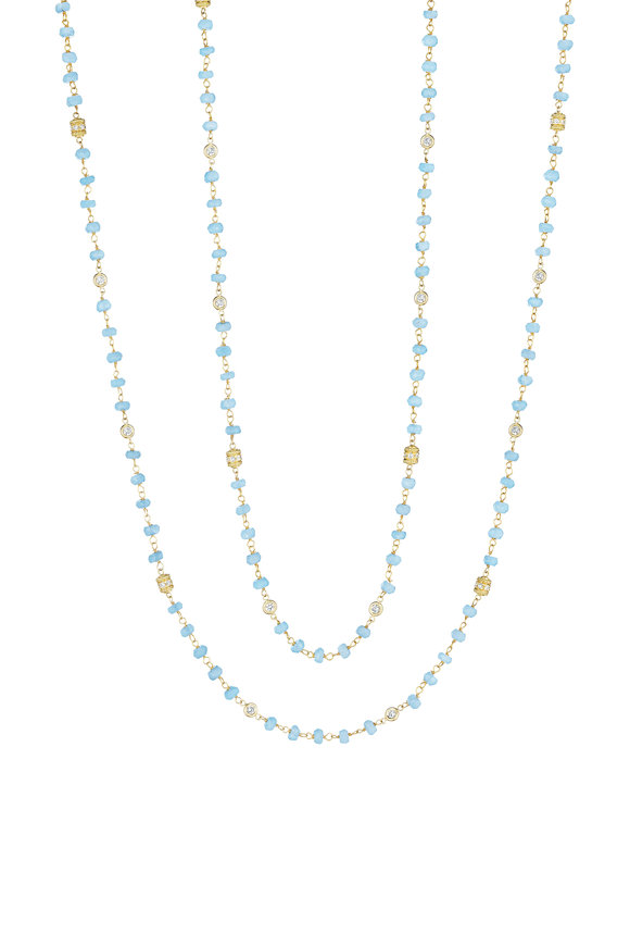 Penny Preville 18K Yellow Gold Diamond & Aqua Bead Necklace