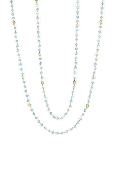 Penny Preville - 18K Yellow Gold Diamond & Aqua Bead Necklace