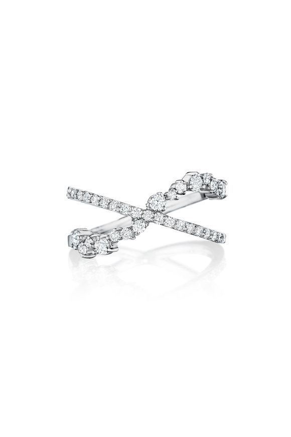 Penny Preville 18K White Gold Diamond Cluster Crossover Ring