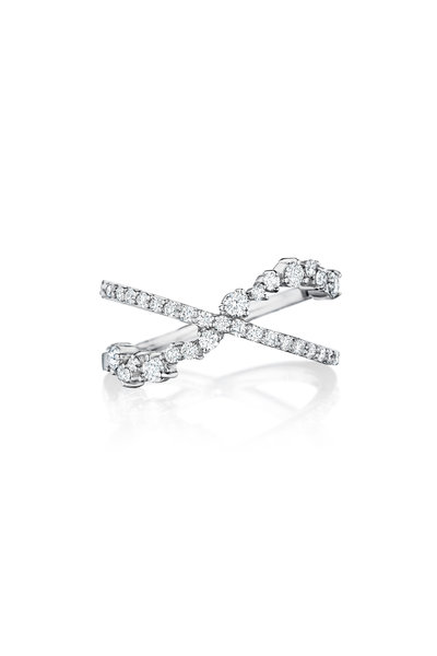 Penny Preville - 18K White Gold Diamond Cluster Crossover Ring