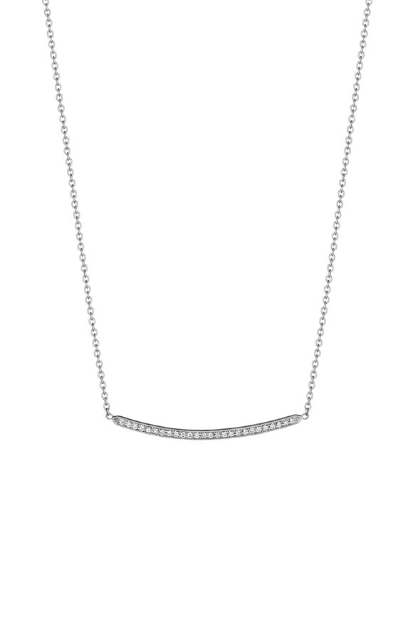 Penny Preville 18K White Gold Pavé Diamond Bar Necklace