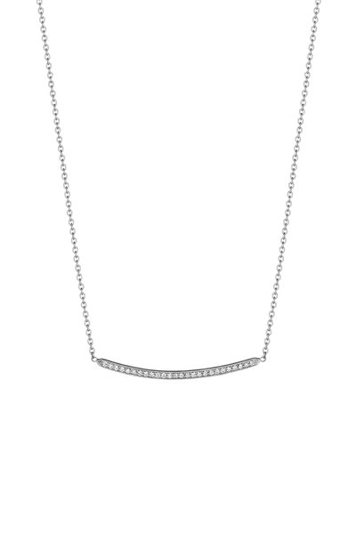 Penny Preville - 18K White Gold Pavé Diamond Bar Necklace