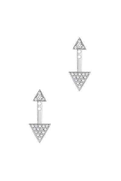 Penny Preville - 18K White Gold Pavé Diamond Triangle Ear Jackets