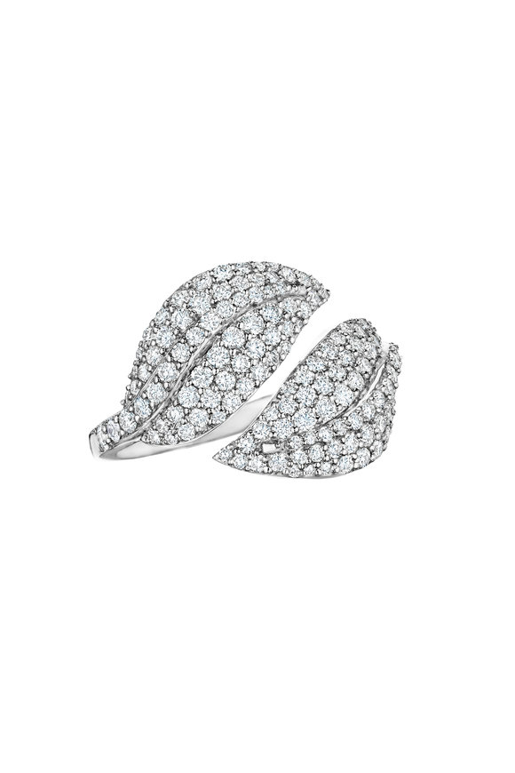 Penny Preville 18K White Gold Diamond Elliptical Leaf Ring