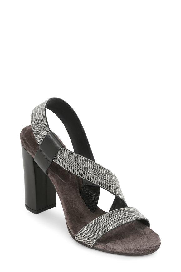 Brunello Cucinelli Black Asymmetric Monili Strap Sandal, 100mm