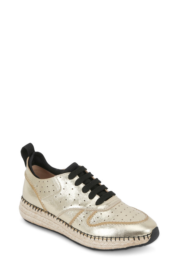 Tod's Rosegold Leather Espadrille Wedge Sneaker