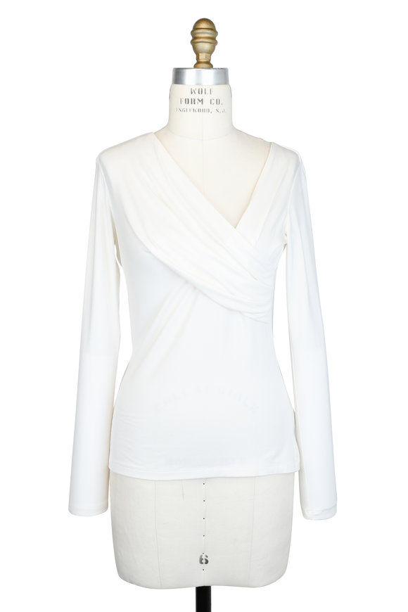 L'Agence Karlie Ivory Jersey Wrap Long Sleeve Top