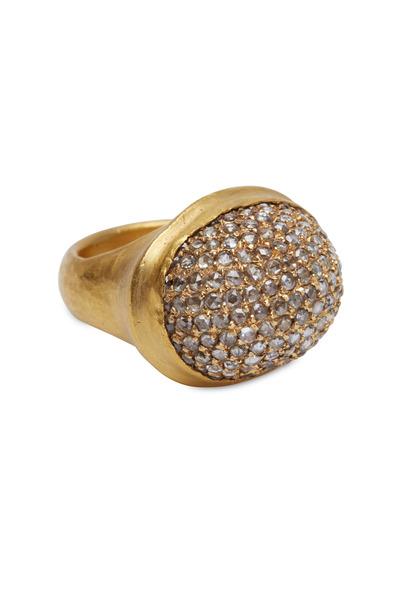 Yossi Harari - Roxanne Yellow Gold Diamond Dome Ring