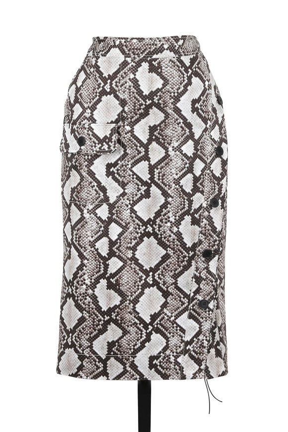 Altuzarra Curry Natural Python Print Pencil Skirt