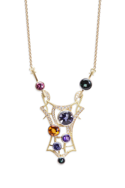 Paul Morelli - Yellow Gold Stained Glass Gemstone Diamond Pendant
