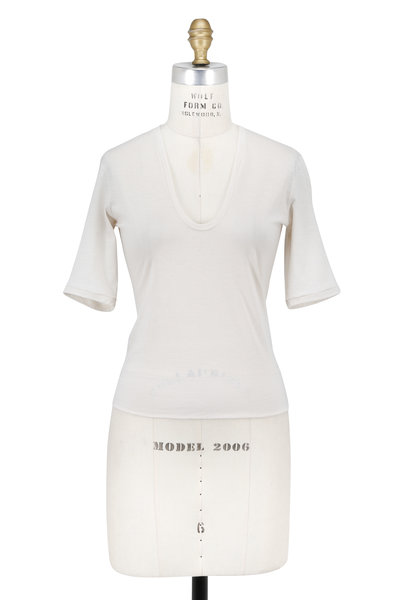 Norisol Ferrari - Ivory Sretch Cotton U-Neck Crop T-Shirt