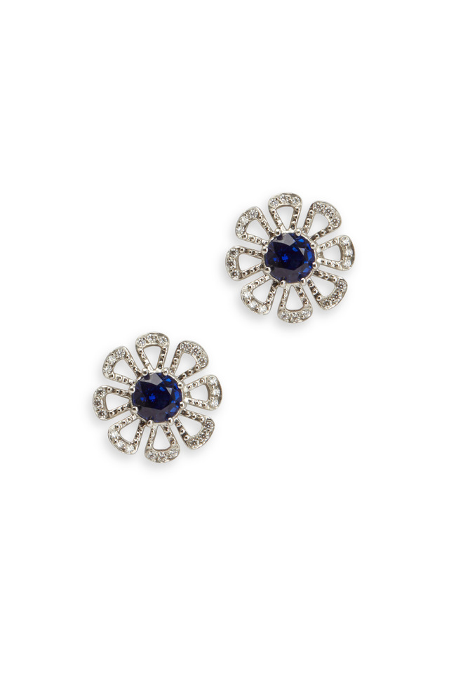 Platinum & Sapphire & Diamond Flower Earrings