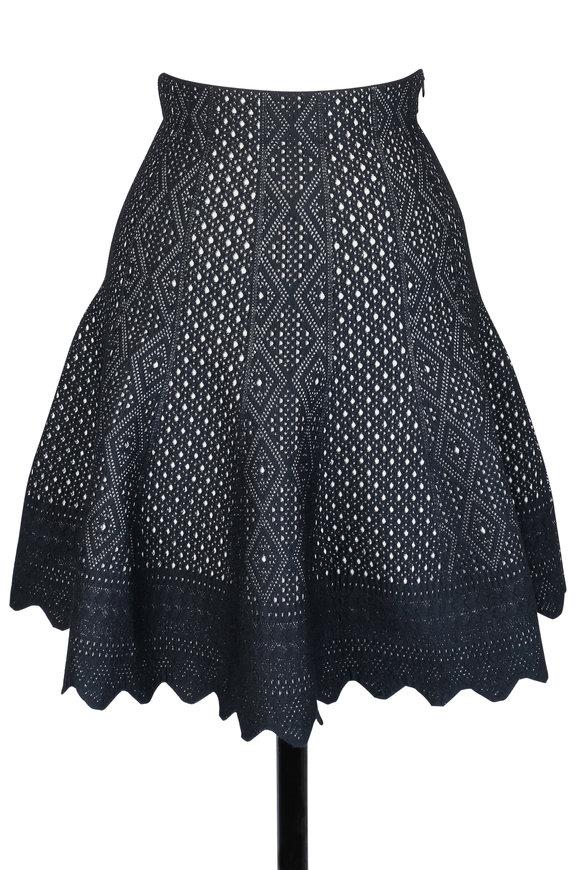 Alexander McQueen Black & Ivory Jacquard Knit Skirt