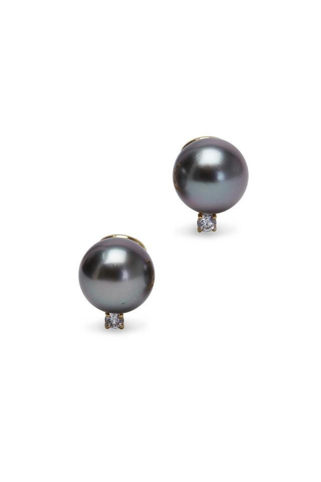 Yellow Gold Tahitian Pearl Button Diamond Earrings