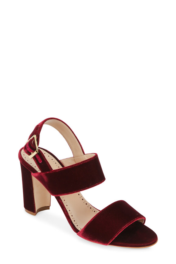 Manolo Blahnik Khan Bordeaux Velvet City Sandal, 90mm