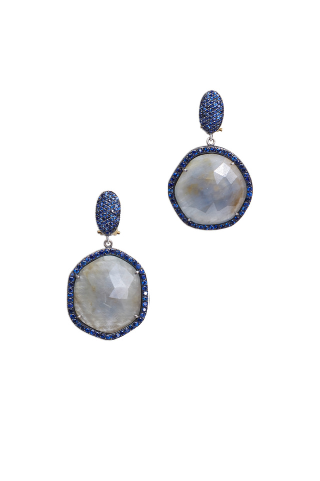 Gold & Silver Blue Sapphire & Slice Earrings