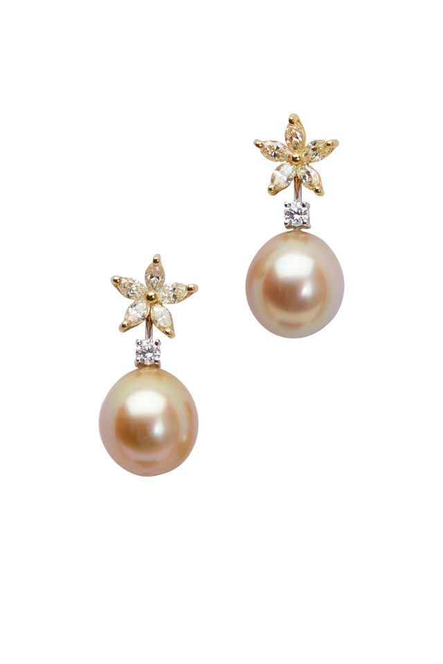 Yellow Gold South Sea Pearl Diamond Earrings