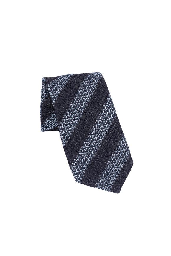 Ermenegildo Zegna Navy & Light Blue Striped Silk Necktie