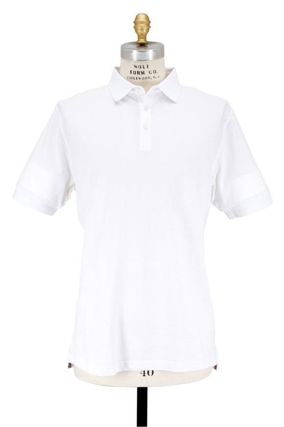 Peter Millar Crown Soft White Cotton & Silk Piqué Polo