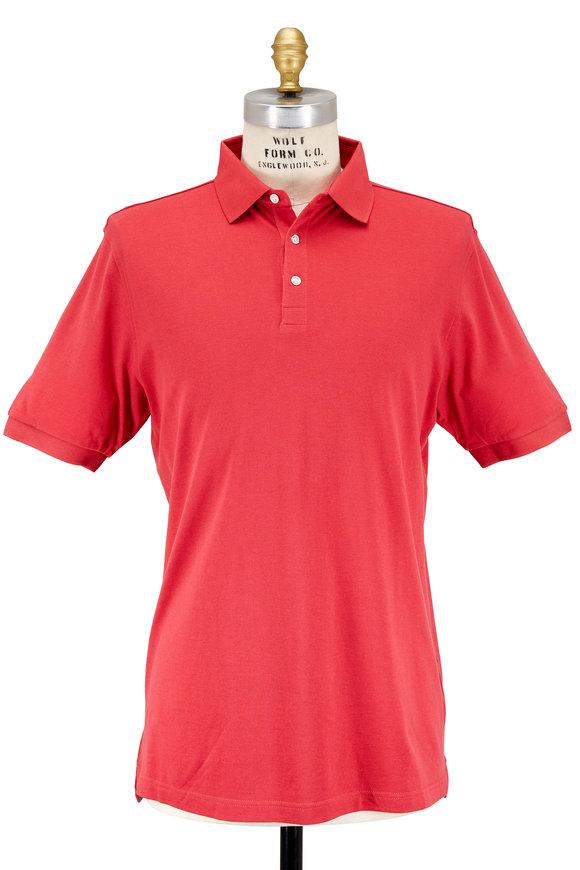 Peter Millar Crown Soft Cape Red Cotton & Silk Piqué Polo