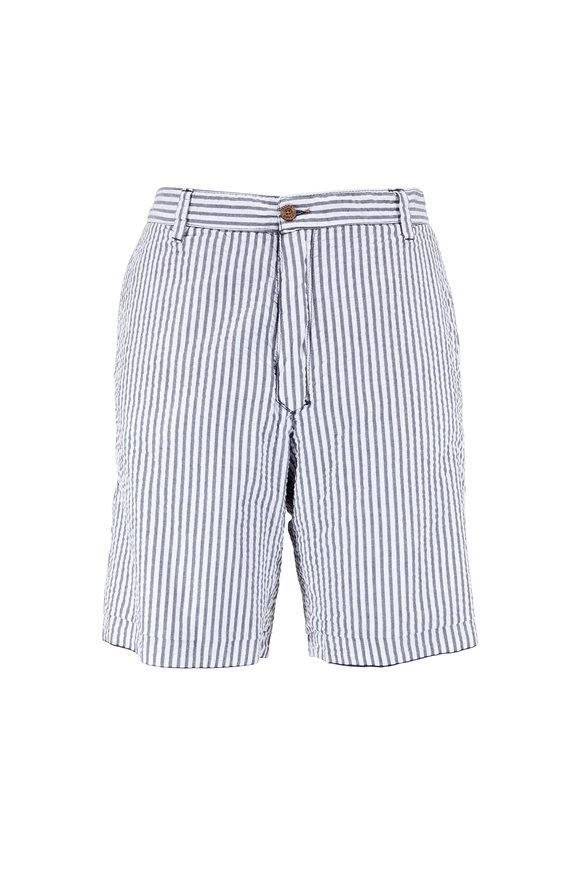 Tailor Vintage Navy & Gray Stripe Seersucker Reversible Shorts