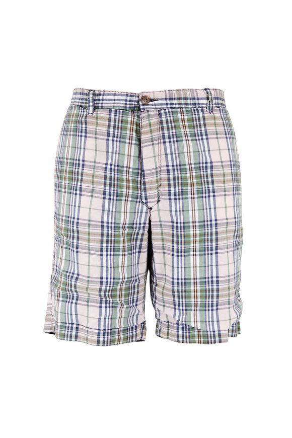 Tailor Vintage Solid Navy & Madras Plaid Reversible Shorts