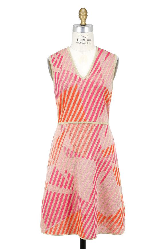 M Missoni Pink Jacquard & Lurex Knit Sleeveless Dress
