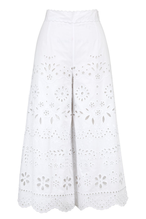 Valentino Red White Cotton Eyelet Embroidered Culottes