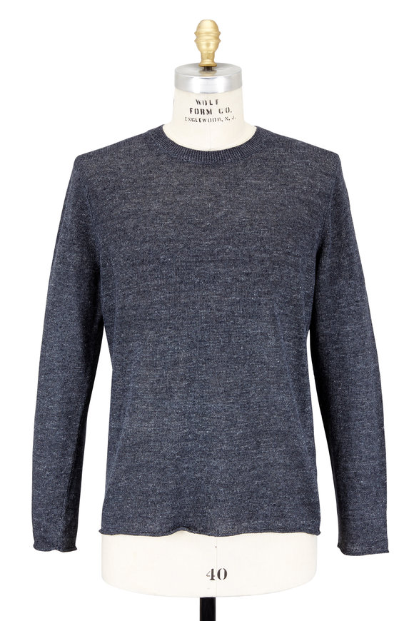Vince Heathered Black Linen Crewneck Sweater